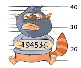 Cat thief cartoon being arrested vector