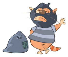 Cat thief cartoon vector