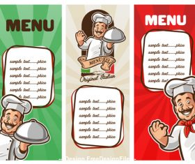Chef and menu banner vecto