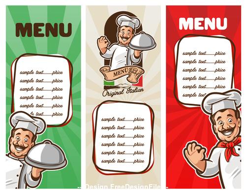 Chef and menu banner vecto