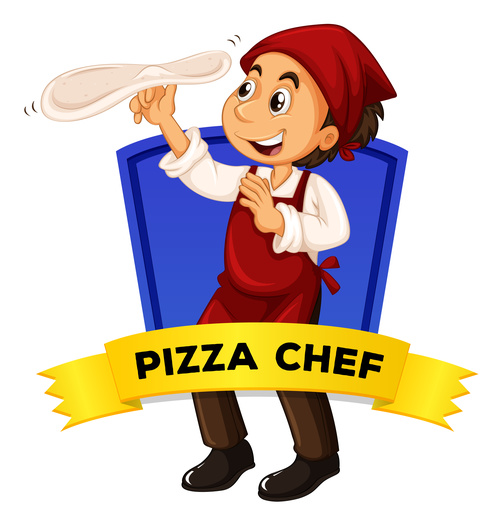 Chef cartoon illustration of making pizza vector