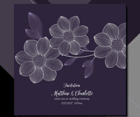 Chic wedding invitation card vector