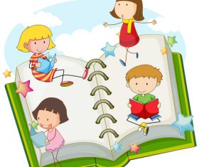 Child learning cartoon vector