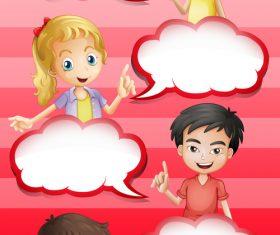 Children dialogue cartoon background pattern vector