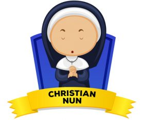 Christian cartoon illustration vector