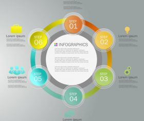 Circular Infographics list design template vector