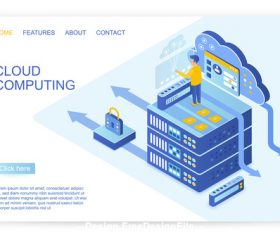 Cloud computing flat isometric vector