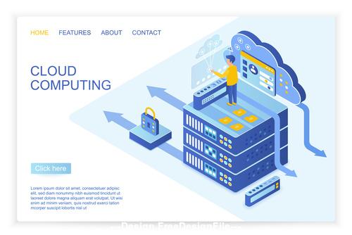 Cloud computing flat isometric vector