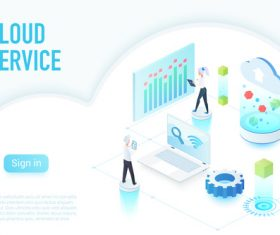 Cloud service flat isometric vector
