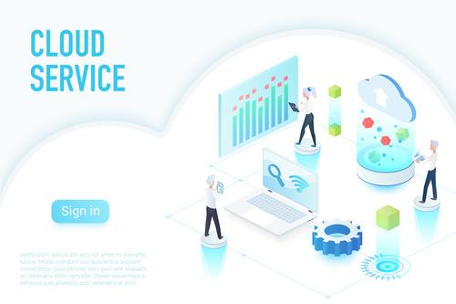 Cloud service flat isometric vector