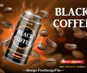 Coffee package design poster vector