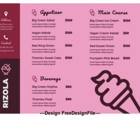 Cold drink shop menu vector advertising