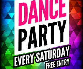 Color background Disco Party dance poster cover vector