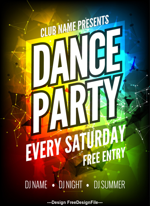 Color background Disco Party dance poster vector