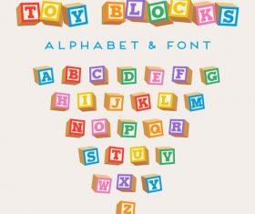 Color blocks alphabet Vector