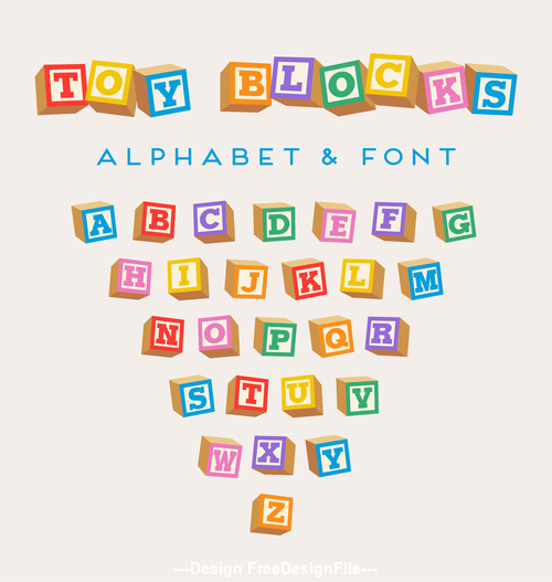 Color blocks alphabet Vector