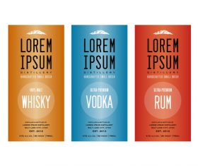 Colored Liquor labels vector