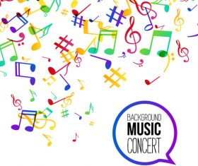 Colored musical notes background flyer Vector
