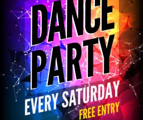 Colorful Disco Party Prom Poster vector