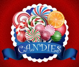 Colorful candy background with realistic blue ribbon vector