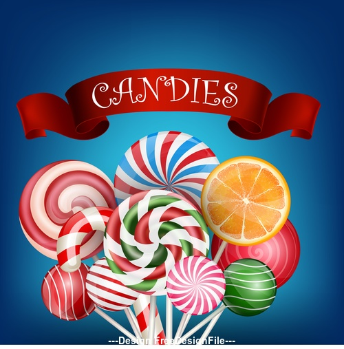 Colorful candy background with realistic ribbon vector