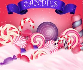 Colorful candy with realistic blue ribbon cover vector