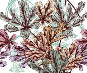 Colorful floral embroidery pattern vector