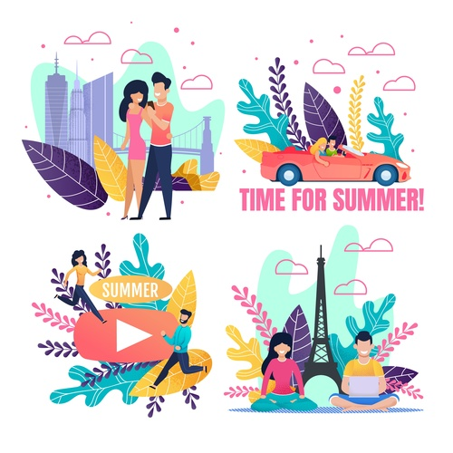 Couple Summer travel banners vector