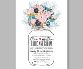 Creative Flower Wedding Invitation Template vector