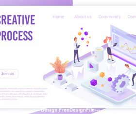Creative process flat isometric vector
