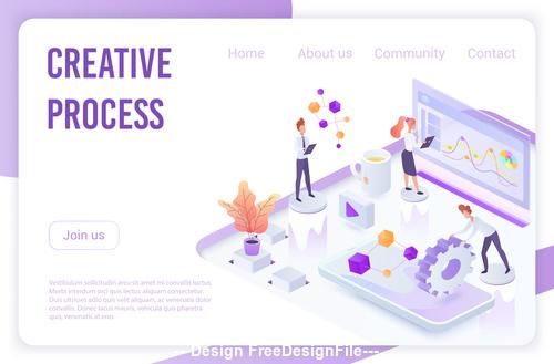 Creative process flat isometric vector