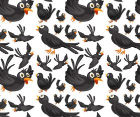 Crow cartoon background pattern vector
