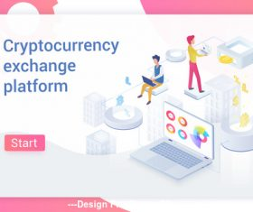 Cryptocurrency transaction flat isometric vector