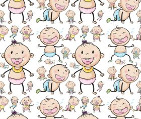 Cute baby Seamless background vector