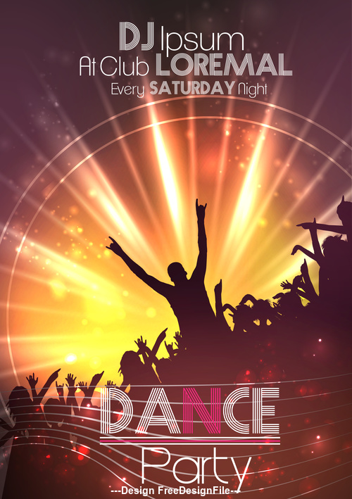 Dance Party Poster Background Template vector free download