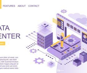 Data center flat isometric vector