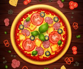 Delicious pizza food cover vector