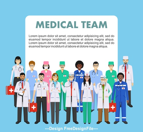 Detailed illustration of doctor and nurs vector