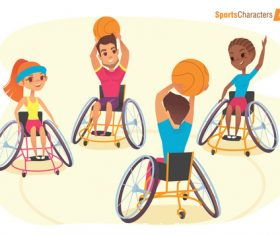Disabled children playing basketball vector