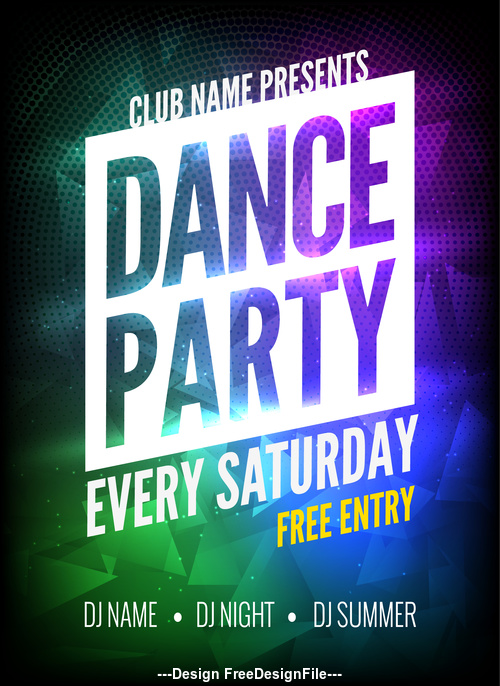 Disco Party Prom Posters in Different Font Colors vector