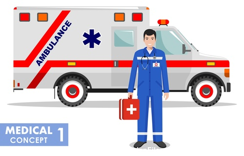 Doctor and ambulance vector