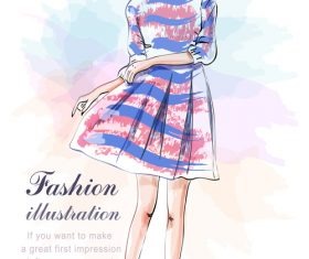 Dress girls watercolor vector