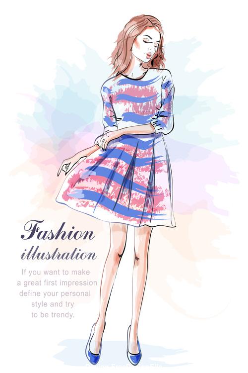 Dress girls watercolor vector