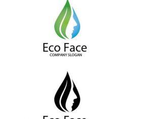Eco face logo vector