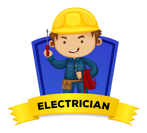 Electrician occupation word card vector