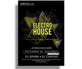 Electro house poster vector