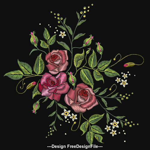 Embroidered red rose pattern vector