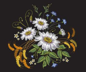 Embroidery flower and wheat pattern vector