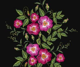 Embroidery red flower pattern vector