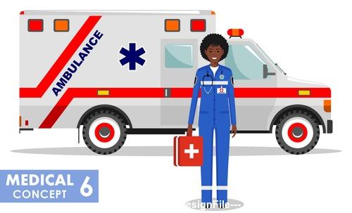Emergency medical ambulance vector
